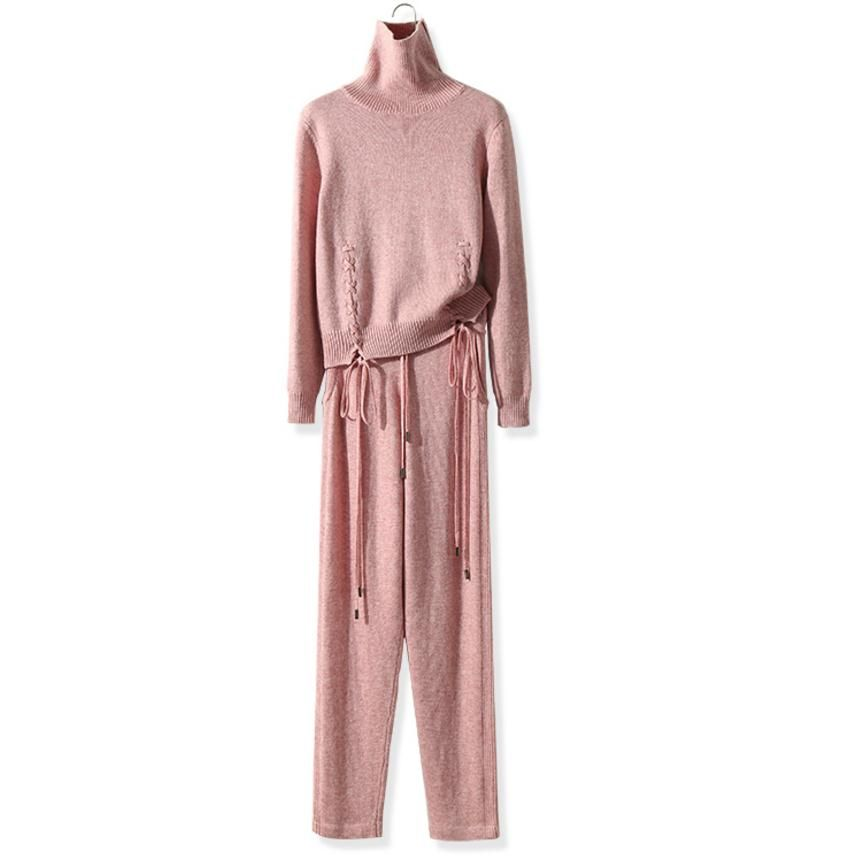 Winter Woolen and Cashmere Knitted warm Suit High Collar Twist Knit Sweater + Mink Cashmere Trousers Leisure Two-piece wj1728