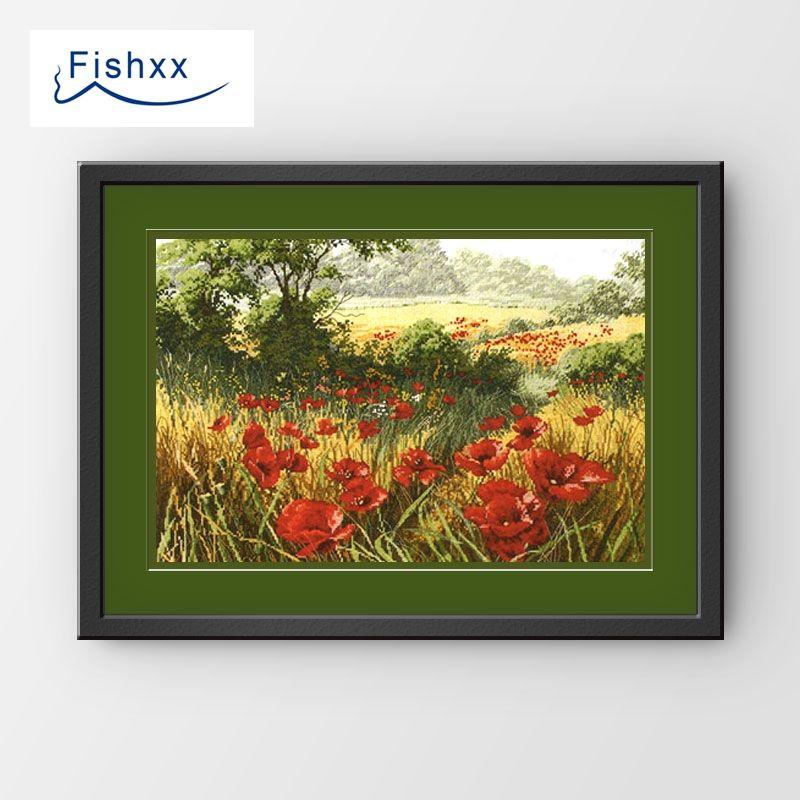 Fishxx Kit point de croix B155 ANC039 marguerite fleur coquelicot pastorale paysage salon suspendu peinture broderie à la main