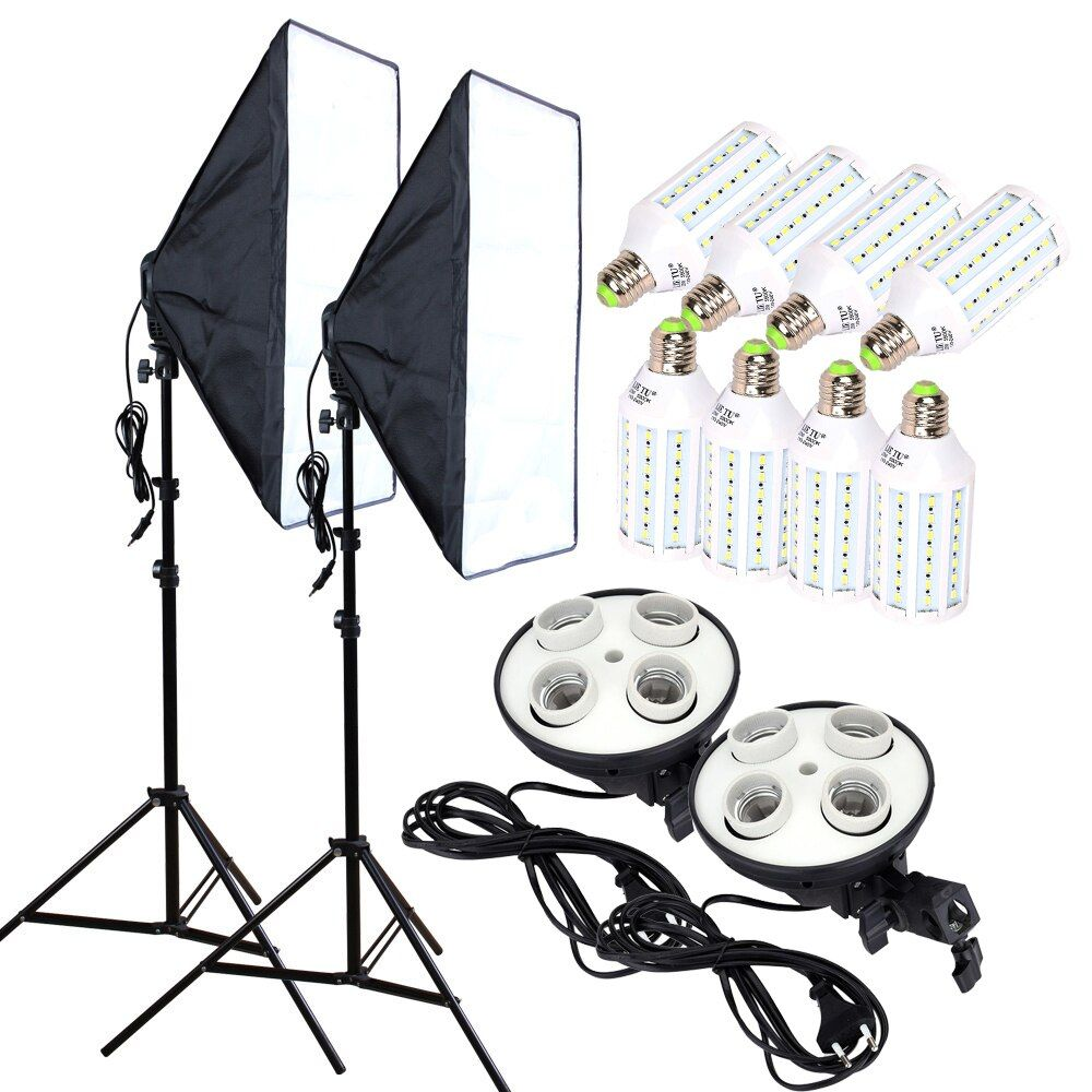 8PCS 35w LED Bulbs 50*70cm Continuous Lighting Softbox photography Diffuser Kit 100-240v 4-Lamp-Holder With &Light Stand 2pcs
