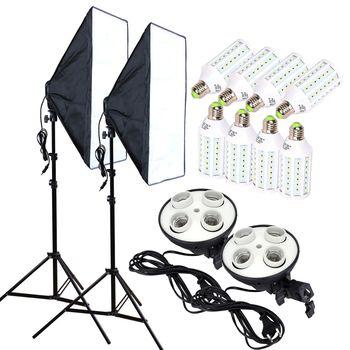 Photo Studio 8 PCS 35 w LED Ampoules 50*70 cm Éclairage Continu Softbox 4-Lamp-Holder Diffuseur Lumière Stand 2 pcs Photographie Kit