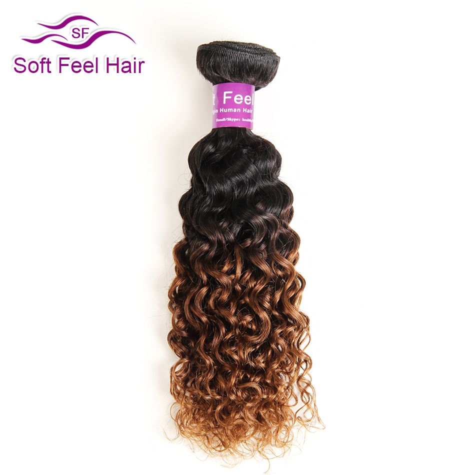 Мягкость волос Ombre бразильский волосы 1B/30 курчавые переплетения Пряди человеческих волос для наращивания Ombre Пучки Волос 10-26 дюймов не Реми ...