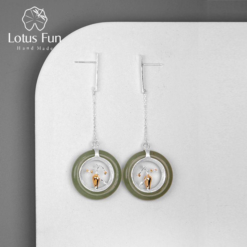 Lotus Fun Real 925 Sterling Silver Handmade Fine Jewelry Classic Oriental Element Flower Vase Design Drop Earrings for Women
