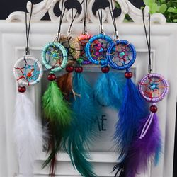 MALUOKASA 1Pcs Handmade Indian Dream Catcher Net with Feathers Wind Chimes Wall Hanging Dreamcatcher Car Ornaments Decoration
