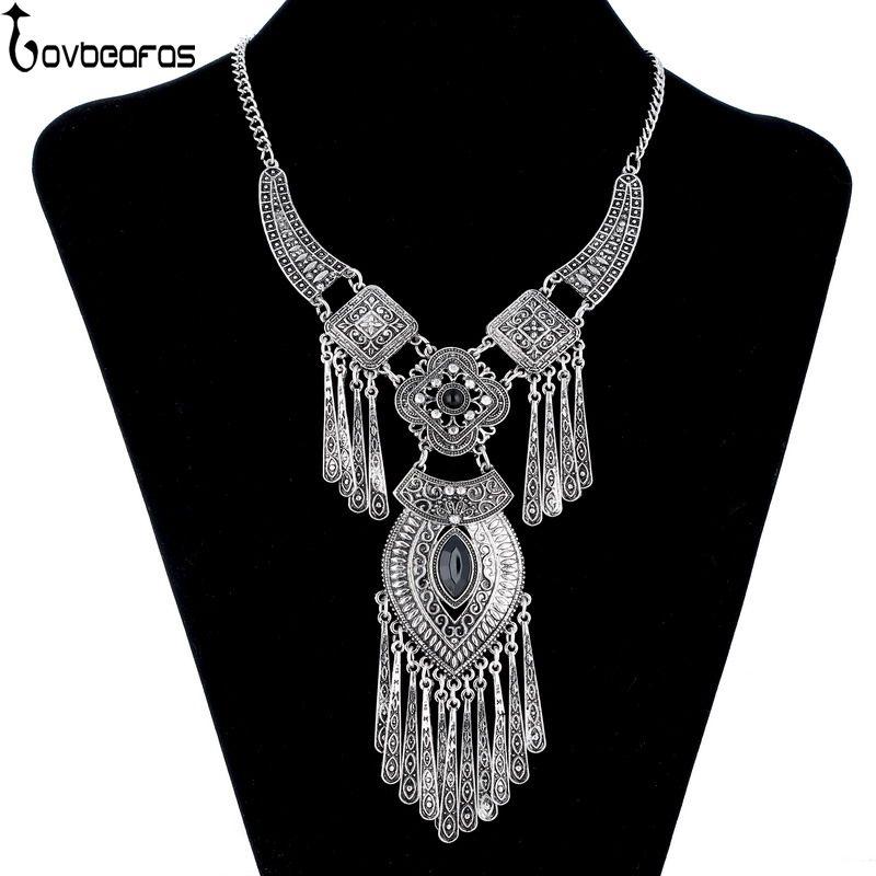 LOVBEAFAS 2017 Moda Bohemia Collar Collar de Gargantilla de Declaración de La Borla de La Vendimia Maxi Largo Collar Collier Femme Joyería