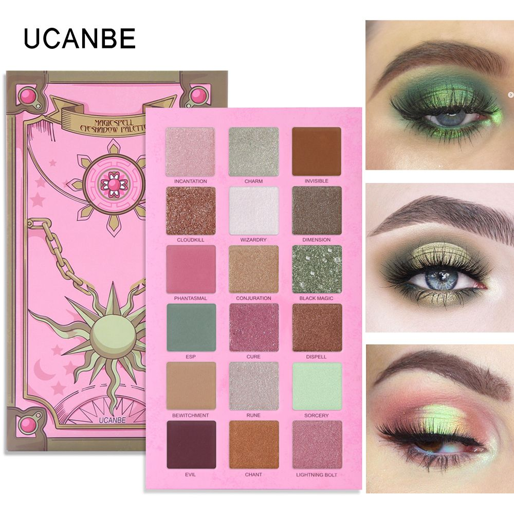 UCANBE Magic Spell Eyeshadow Palette Vibrant Green Eyes Makeup 18 Colors Glitter Shimmer Matte Metallic Eye Shadow Nude Cosmetic