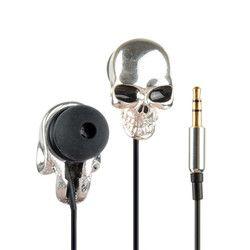 1Pc Silver Unique Desgin Skull Heads 3.5mm Port In-Ear Metal Headset Earphones For Mobile Phone MP3 iPads Earphones P0.11