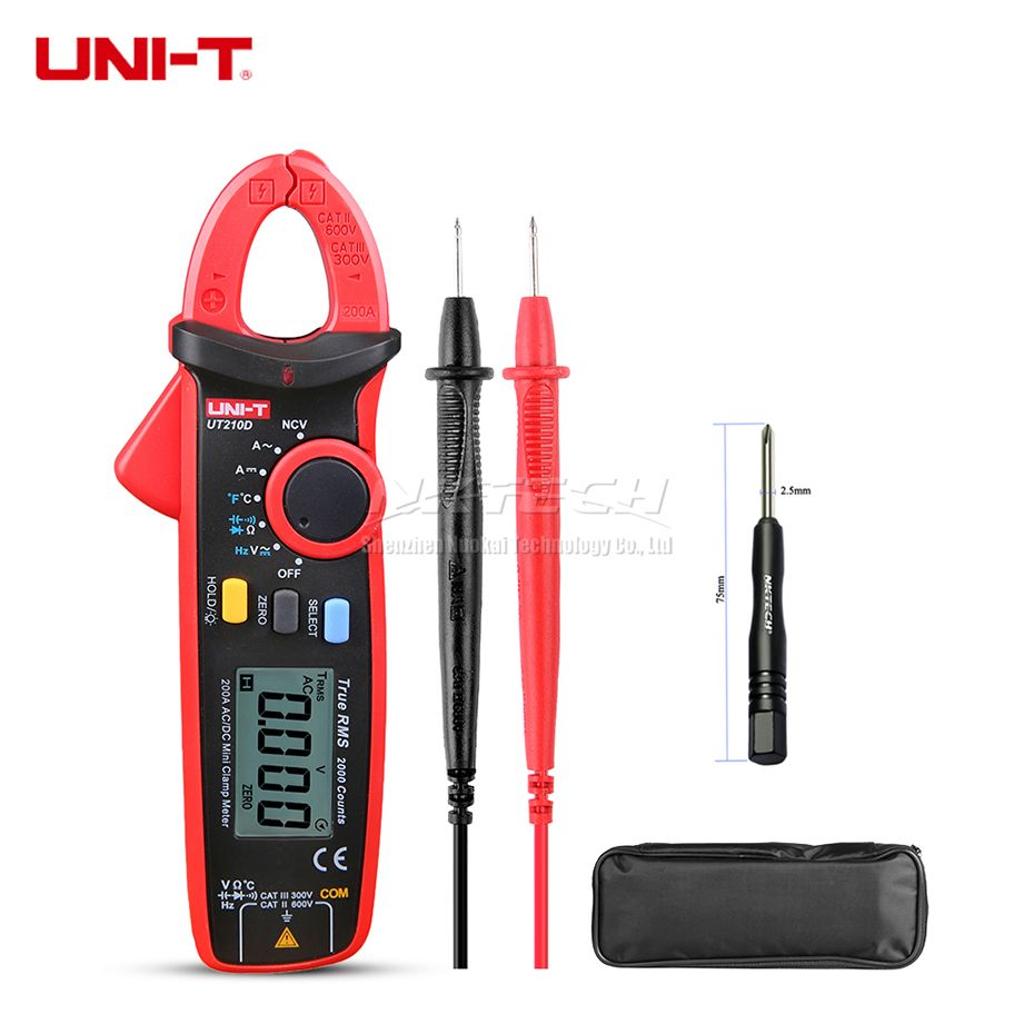 UNI-T Digital Clamp Meter UT210D UT210E UT210C UT210B UT210A True RMS Auto Range AC DC 200A Capacitance Temperature Frequency
