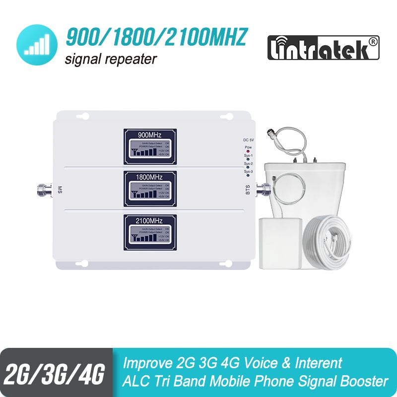 ALC Cellular Signal Booster Tri Band GSM Signal Repeater 65dB Gain 3G LTE 900 1800 2100 Cell Phone 4G Amplifier Repetidor SetS38