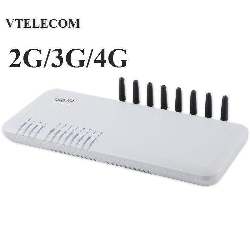 Marke neue 4G LTE VOIP gateway mit 8 ports GSM/WCDMA LTE VOIP SIP-Gateway 2G/ 3G/4G 8 sims IP gateway