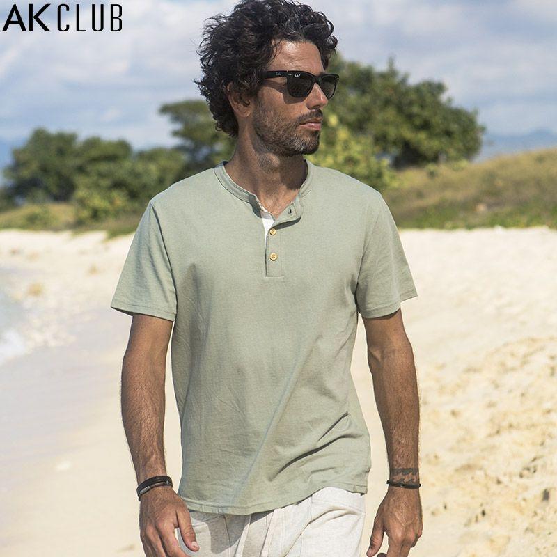 AK CLUB Brand T-shirt Kuba Libre Henry Kragen T-shirt 100% baumwolle Atmungsaktive Kurzarm T-shirt Tops Männer Casual T-shirt 1700019