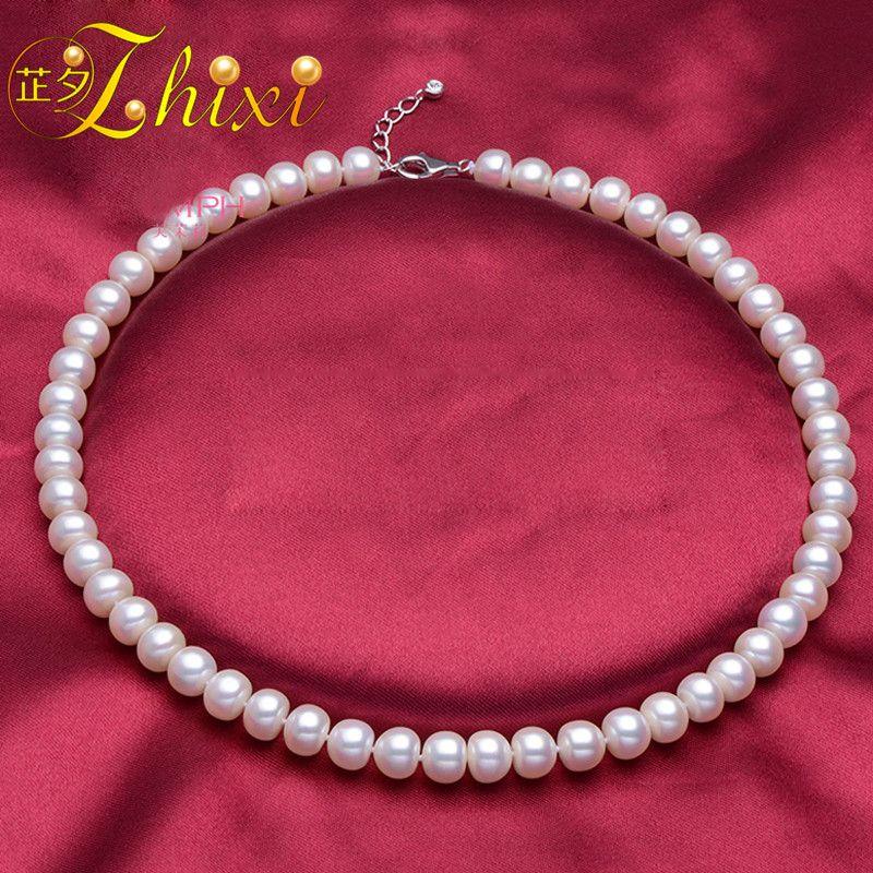ZHIXI Grosse Perle Collier Joaillerie Réel D'eau Douce Collier de Perles Classique Blanc Naturel Pierre Colar 43 cm Pour Femmes F001