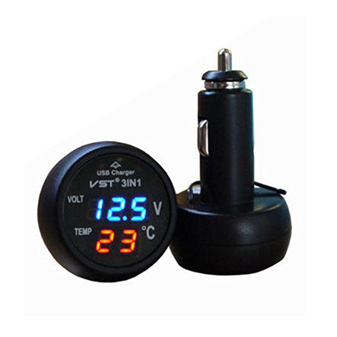 Multifunction Car Digital Voltmeter USB Car Charger 3 in 1 LED Battery DC Voltmeter Thermometer Temperature Sensor