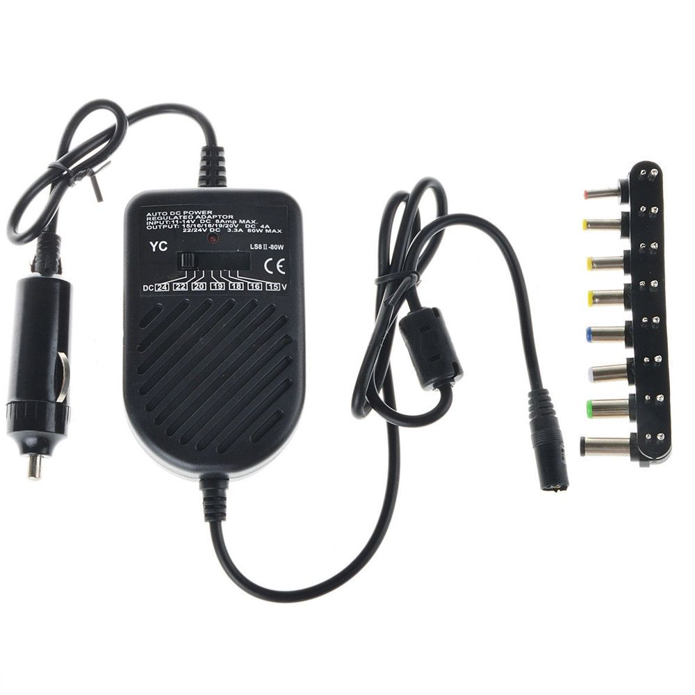 Universel 80 W DC chargeur de voiture ordinateur portable adaptateur pour ordinateur portable LED réglable ensemble d'alimentation automatique + 8 fiches détachables chargeur d'ordinateur