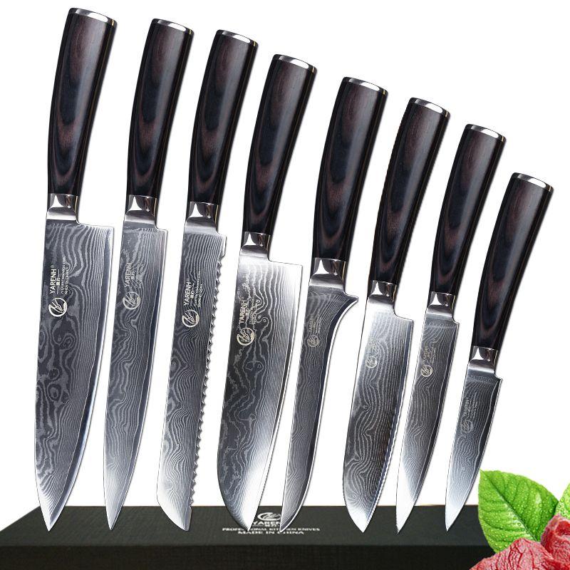 8 stücke damaskus messer set profi-koch messer set mit Pakka holz griff edelstahl beste küche messer