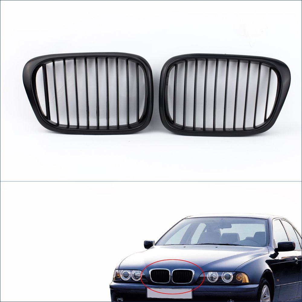 Hot Sale 2Pcs Matte Black Front Kidney Racing Grilles for BMW E39 5 Series 1998-2003
