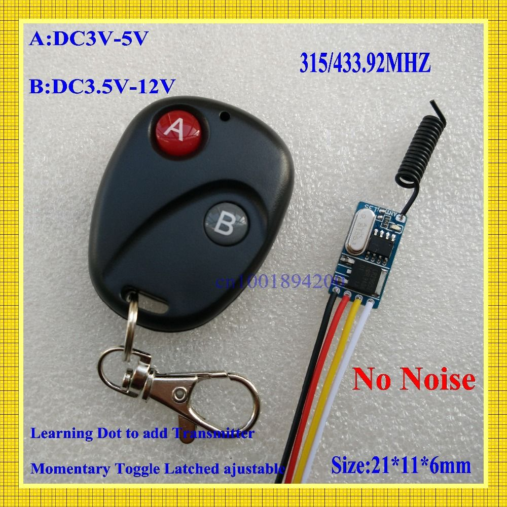 433.92mhz Micro Remote Control Switch Mini Receiver 3.5v 3.7v 4.5v 5v 6v 7.4v 8.4v 9v 12v Long Range Small Receiver Transmitter