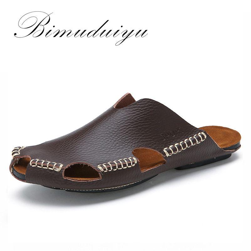 BIMUDUIYU New Arrival Summer Cool Leather Breathable Men Flip Flops Korean Style Male Slipper Non-slide Male Handmade Slippers