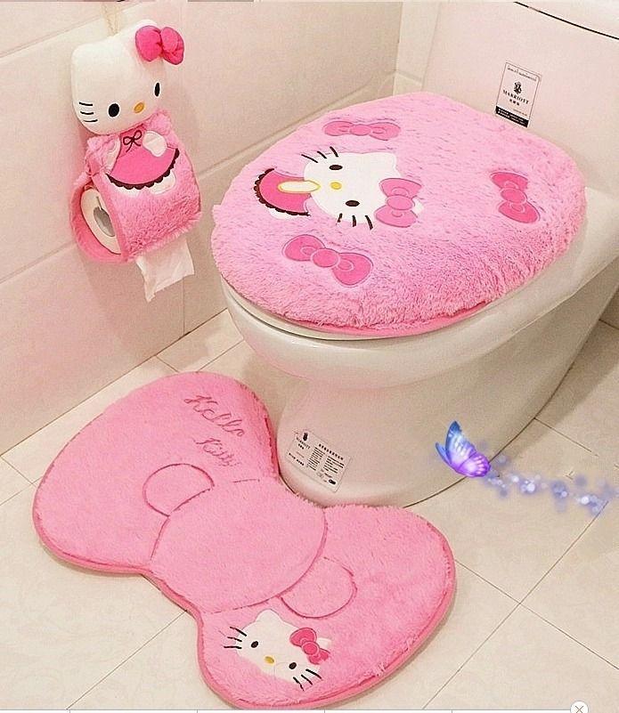 Hello kitty bathroom set <font><b>toilet</b></font> set cover mat holder closestool lid cover Bathroom products Bathroom Accessories Sets 4pcs/s