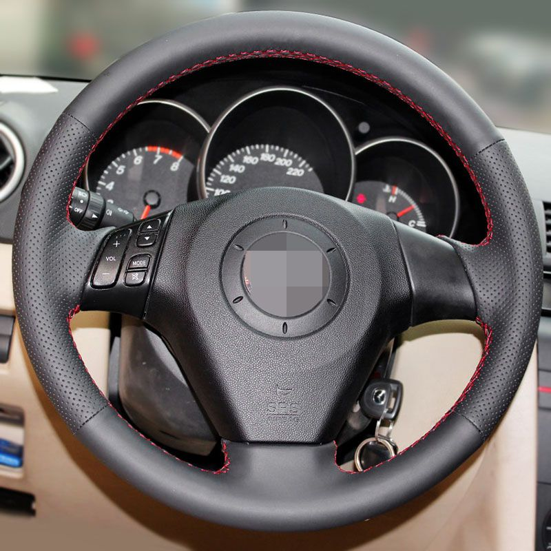 Black Artificial Leather Car Steering Wheel Cover for Old Mazda 3 Mazda 5 Mazda 6 2003-2009