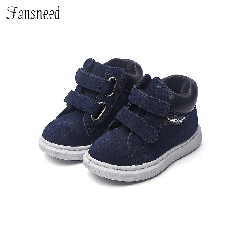 Nuevo parte superior de cuero genuino zapatos solo niños y niñas zapatos casuales Botas Niño bebé botas