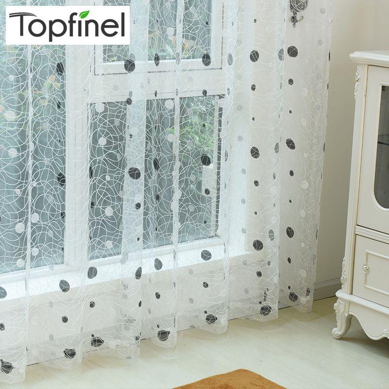 Topfinel Vogel Nest Sheer Vorhänge Punkte Bestickt Vorhang für Küche Wohnzimmer Schlafzimmer Tüll für Windows Behandlung Panel