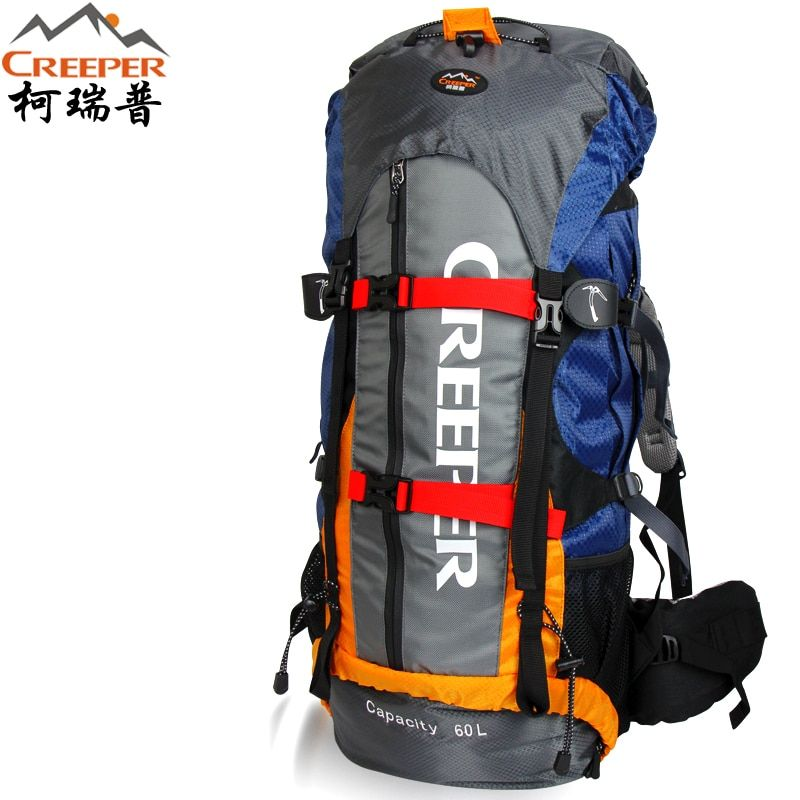 Creeper Free Shipping <font><b>Professional</b></font> Waterproof Rucksack External Frame Climbing Camping Hiking Backpack Mountaineering Bag 60L