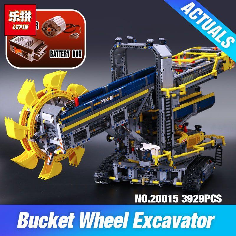 LEPIN 20015 3929Pcs Technic Bucket Wheel Excavator Compatible 42055 Toys Model Building assemble Kit Blocks Brick DIY Kids Gifts