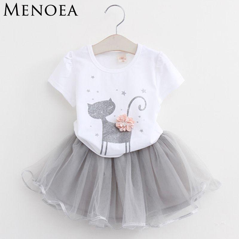 Menoea 2018 Summer New Baby Girls Clothing Sets Fashion Style Cartoon Kitten Printed T-Shirts+Net Veil Dress 2Pcs Girls Clothes