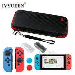 Ivyueen 8 en 1 para Nintendo switch NS consola llevar bolsa de almacenamiento protector de pantalla de vidrio templado + funda de silicona para joy-con