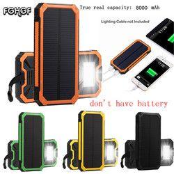 Portable 20000 mAh cargador de batería externa para teléfono móvil con LED luces de emergencia Banco de la energía Solar kit no tiene batería