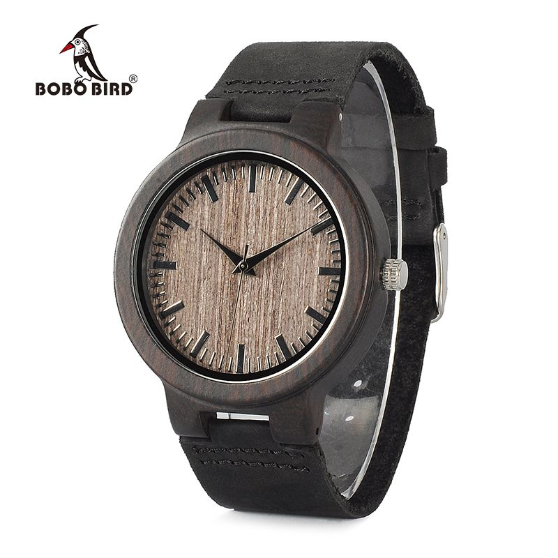 BOBO BIRD WC26 Ebony Wooden Watch for Men Gray Wood Dial Face Leather Straps Quartz Watches accept OEM