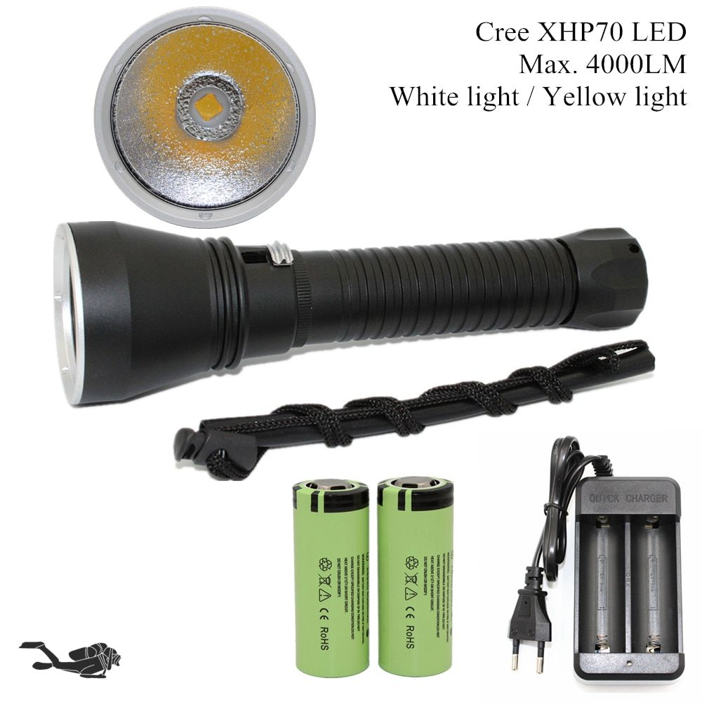 Super <font><b>Brightness</b></font> Cree XHP70 LED Yellow/White Light 4000 Lumens Diving Flashlight Tactical 26650 Torch Underwater 100M Waterproof