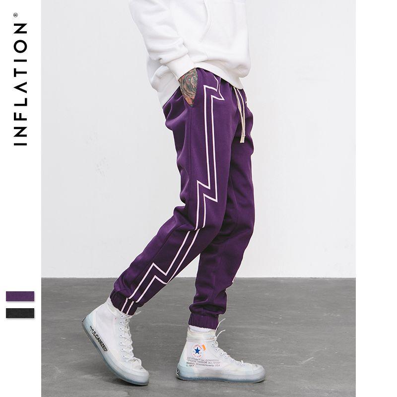 INFLATION 2018 FW Stripe Screen Print Sweatpants Streetwear Men's Elastic Waist Track Pants Force Jogger Trousers 8836W