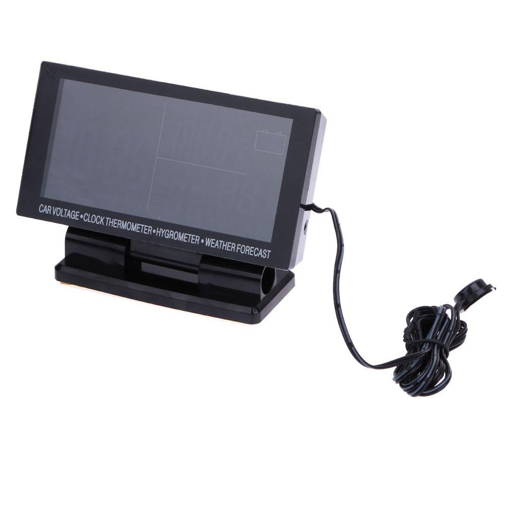 Многофункциональный ЖК-дисплей цифровые часы автомобилей Вольтметр термометр-гигрометр прогноз погоды автомобиля Часы