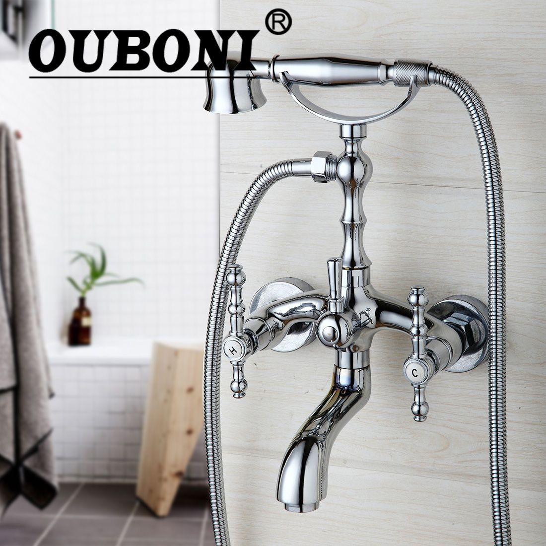 OUBONI Shower Set Chrome Telephone Install Bathroom Sink Faucet Bathtub Basin Mixer Tap With Shower Hand