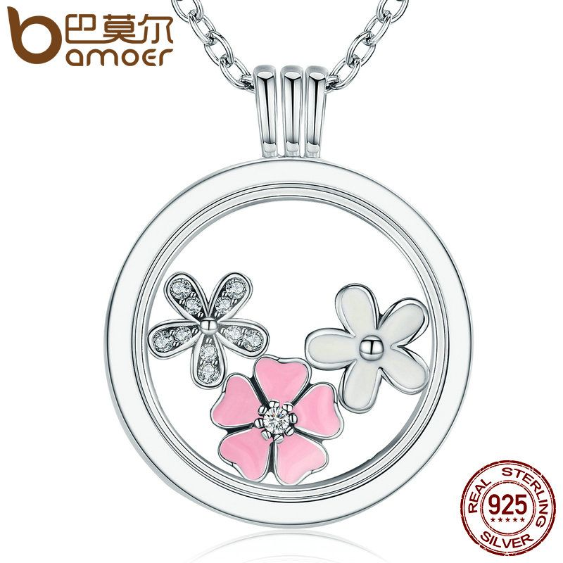 BAMOER 925 Sterling Silver Poetic Blooms, Mixed Enamels & Clear CZ Memories Floating Box Necklaces & Pendants Luxury Jewelry