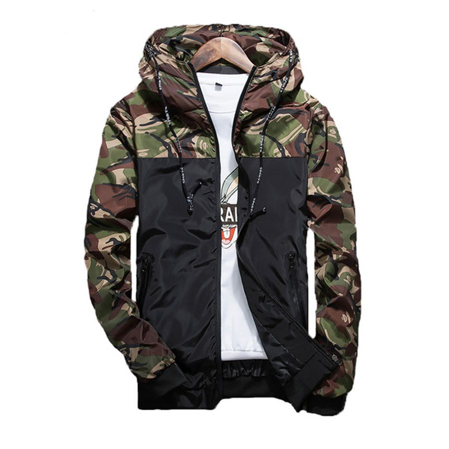 Spring Autumn Male Jacket Outerwear Zipper Breasted Mens Camouflage Jackets Casual Fashion Windbreaker Coat Men Slim Fit Hooded