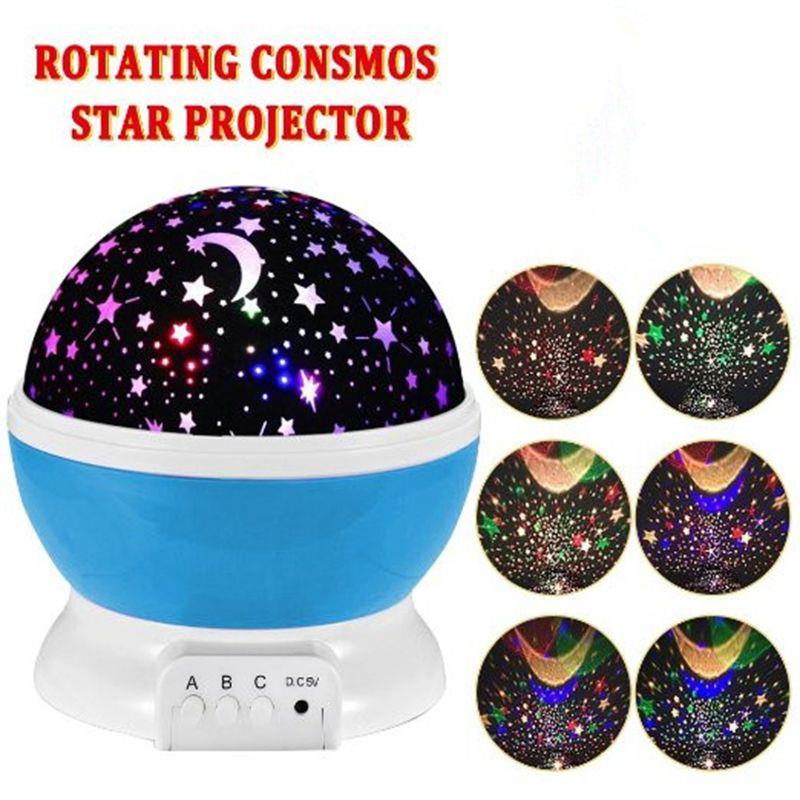 Qedertek Veilleuse Lampe De Projecteur Rotatif Clignotant Étoilé Étoile Lune Ciel Étoile Nouveauté Table Lampe De Nuit Batterie USB veilleuse