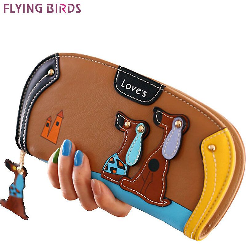 FLYING BIRDS!women leather wallets dollar price women's purse 2016 new card holder coin purse summer style bag ladies LM3091fb