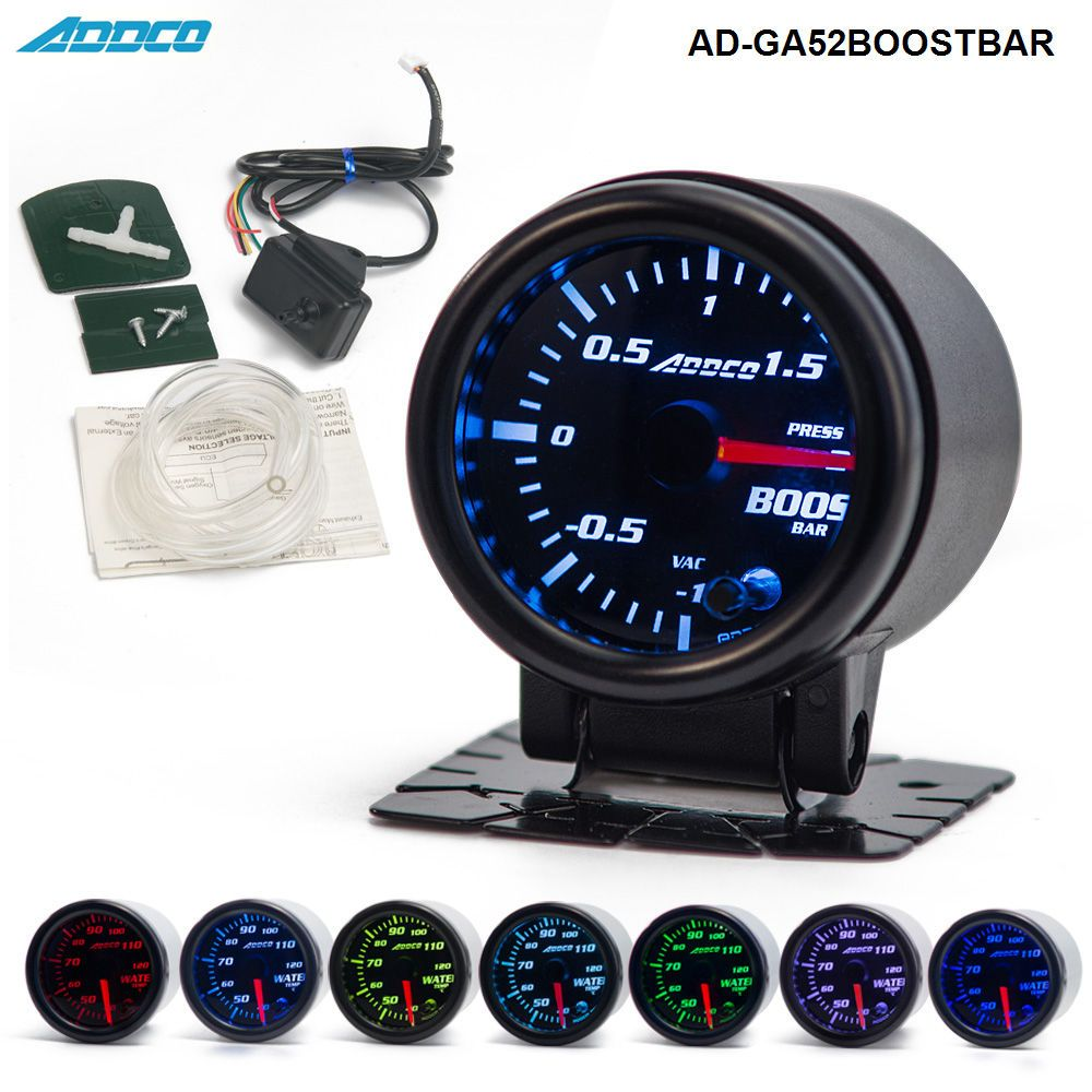 2 52mm 7 Color LED Electrical Car Bar Turbo <font><b>Boost</b></font> Gauge Meter With Sensor and Holder AD-GA52BOOSTBAR