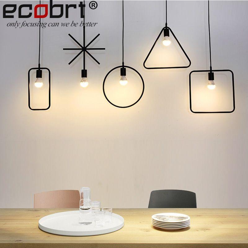 ECOBRT Vintage Loft <font><b>Pendant</b></font> Lights Lamps Modern Industrial iron haning lights fixtures in Living Room Black color