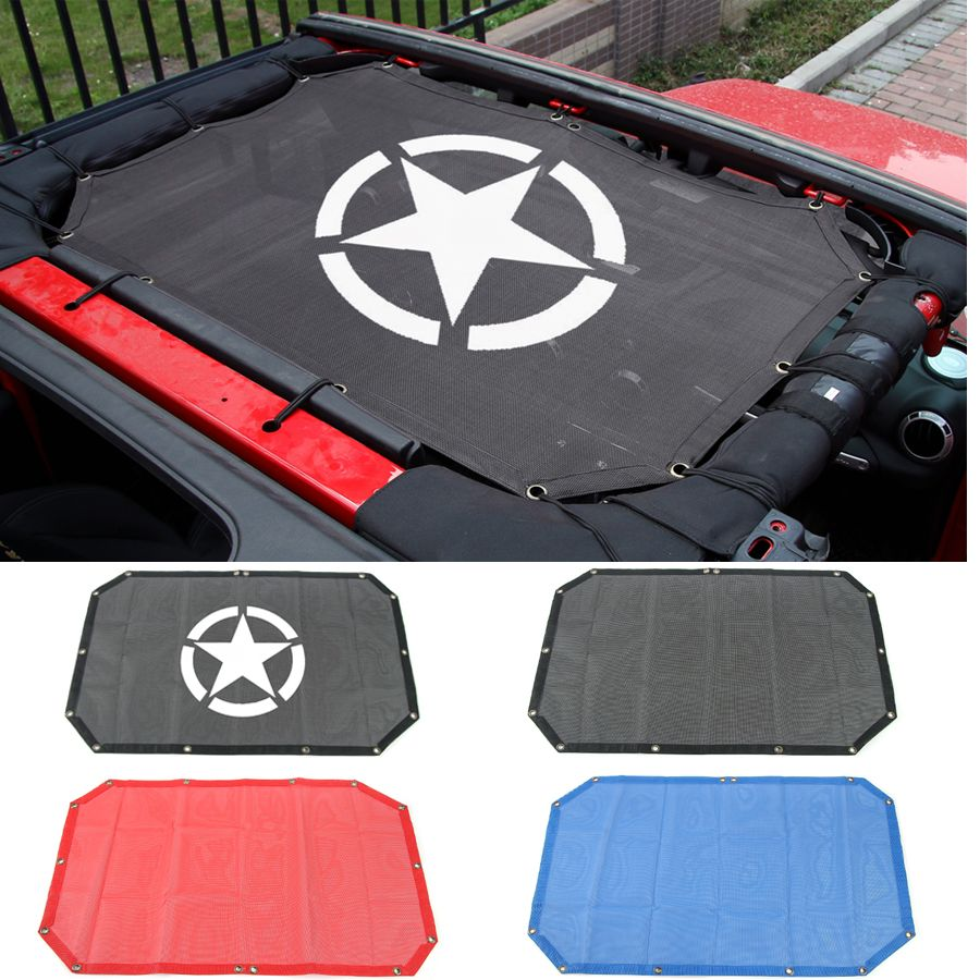 Car Roof Sunshade Mesh Top Cover Anti UV Rays Travel Outdoor Styling Accessories Polyester For Jeep Wrangler 2 4 Doors 2007-2017