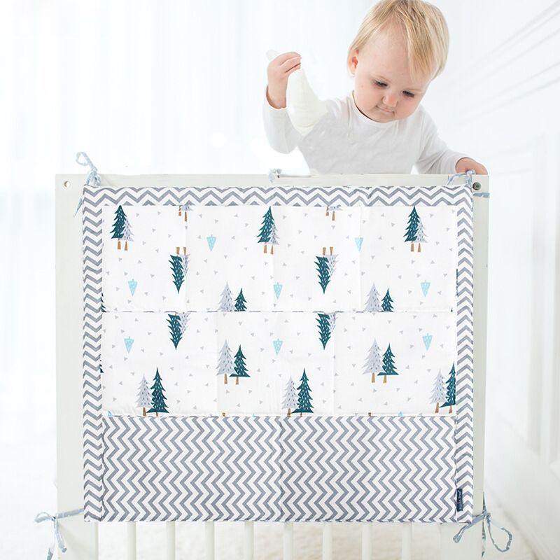 Mousseline arbre lit suspendu sac de rangement bébé lit lit marque bébé coton berceau organisateur 50*60cm jouet couche poche pour berceau ensemble de literie