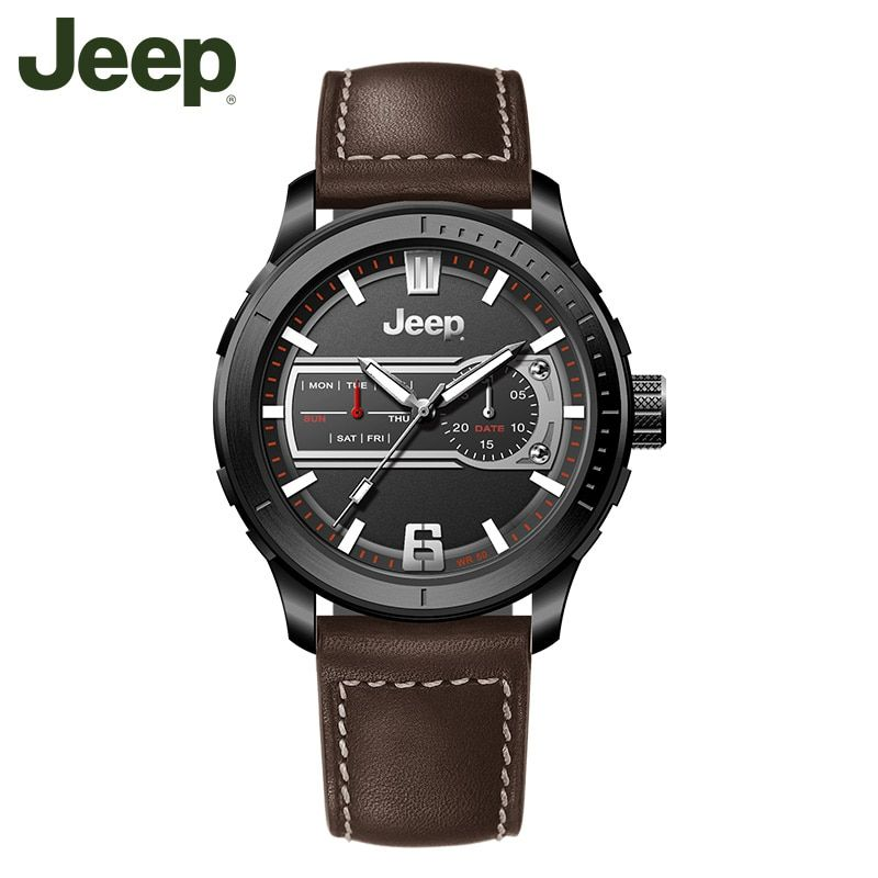 Jeep Original Watch Brand Mens Watches Luminous Quartz Brown Black Leather Strap Waterproof Luxury Brand Watches JPW65602