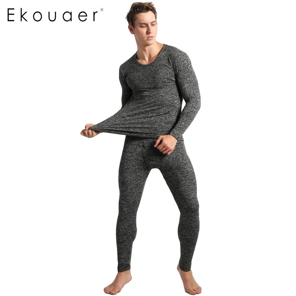 Ekouaer Invierno Pijamas Para Hombre de Manga Larga Sólido Delgado ropa de Dormir O Cuello ropa de Dormir Pijamas Set Homewear Para Hombres Pijama pantalones de Pijama En Casa