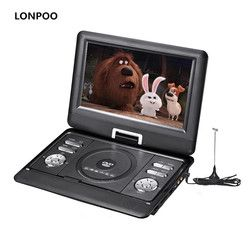 LONPOO Portable DVD Player 10.1-Inch Screen DVD Player Car Charger with Rechargeable Battery USB SD Card CD DVD Player APBAT