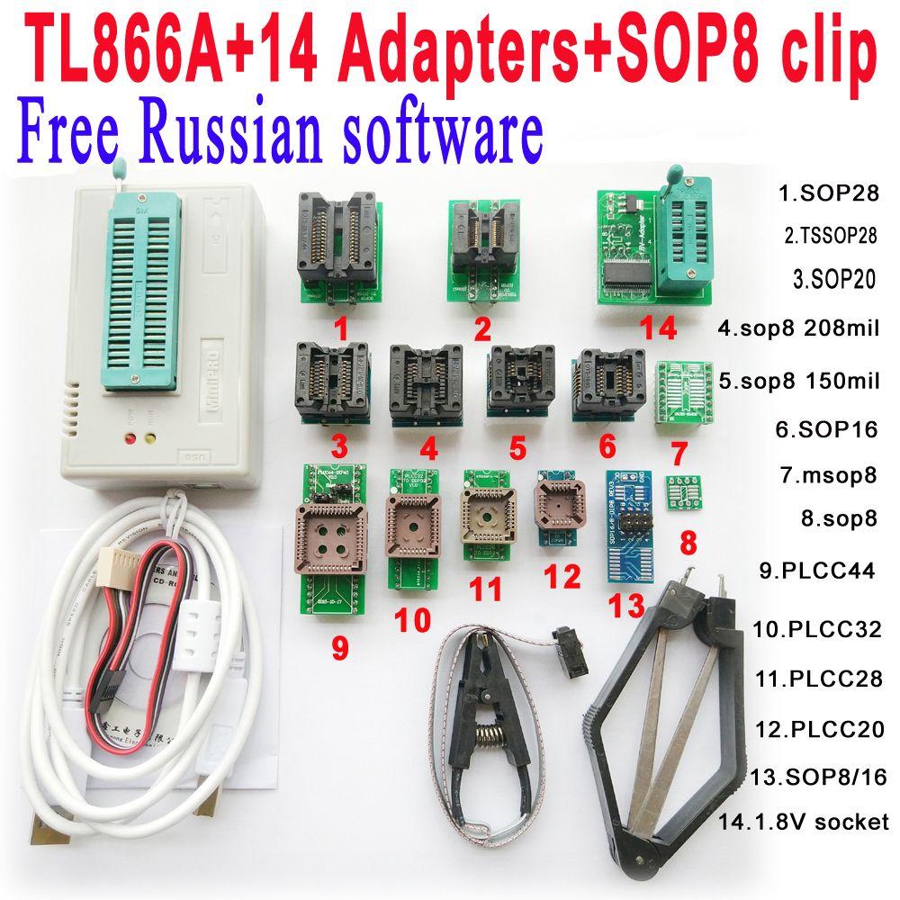 V6.6 D'origine Minipro TL866A programmeur + 14 adaptateur socket + SOP8 Clip IC pince Livraison Russe logiciel Bios Flash EPROM EEPROM
