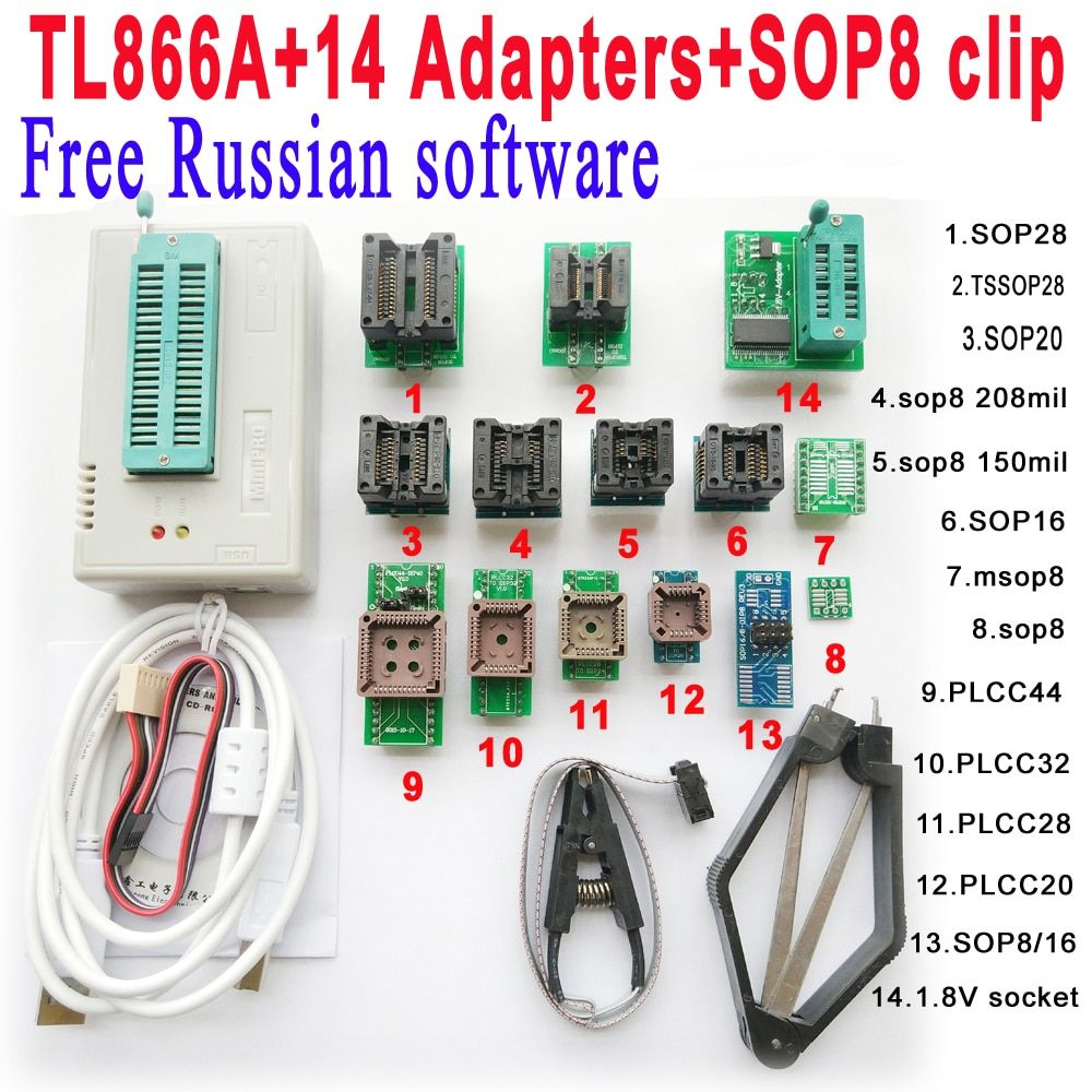 V6.6 Original Minipro TL866A programmer +14 adapter socket + SOP8 Clip IC clamp Free Russian software Bios Flash EPROM EEPROM