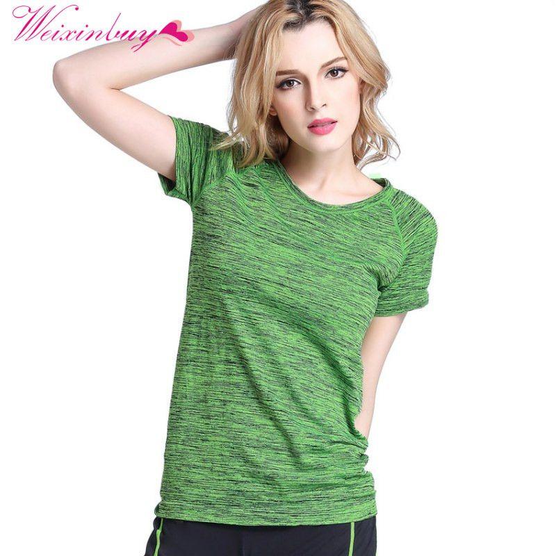 WEIXINBUY Frauen Tees T-shirt Kurzen Ärmeln Hygroskopisch Schnell Trocknend Fitness T-shirt Für Frauen Tops Chic