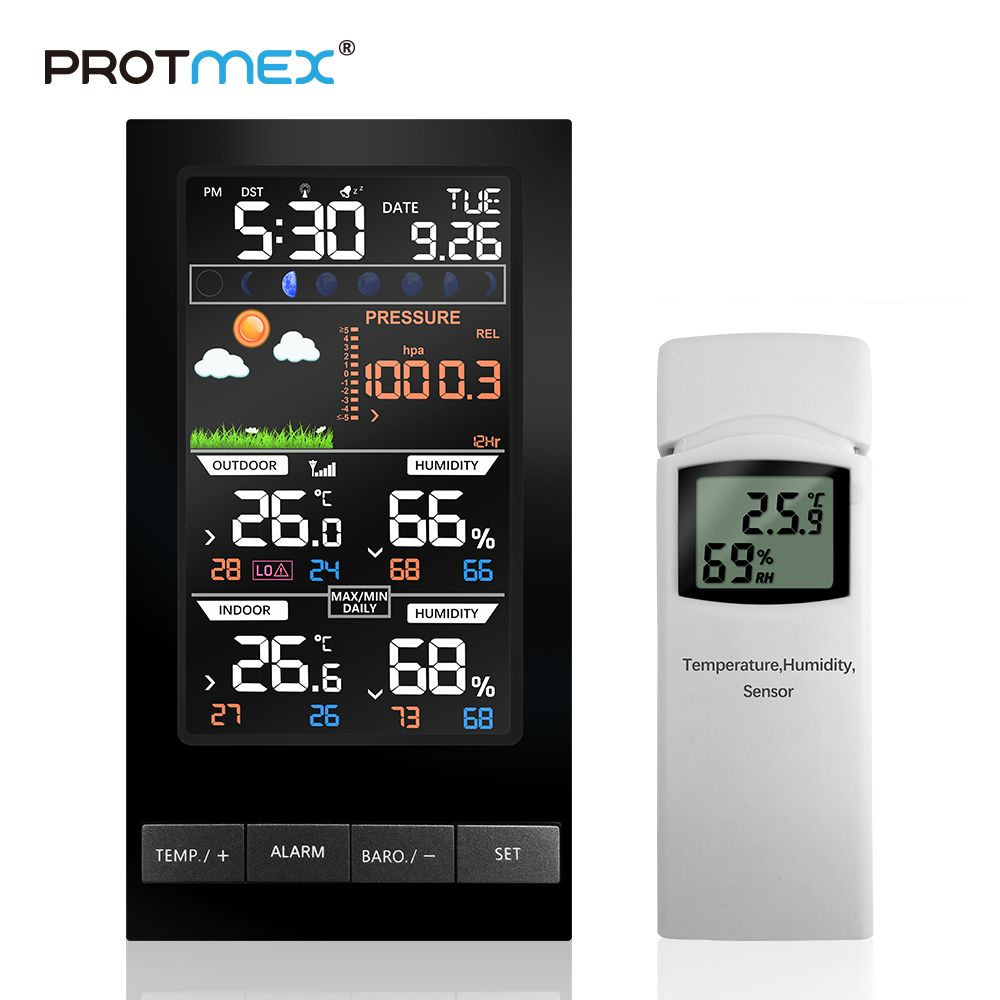 PROTMEX Weather Station Temperature Humidity Wireless Colorful LCD Display With Barometer Weather Forecast Radio Control Time